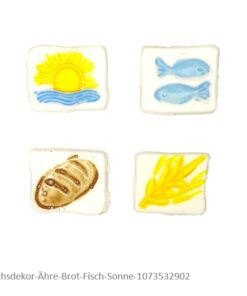Wachsdekor Ähre, Brot, Fisch und Sonne