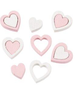 Herzen Streuteile weiss-rosa